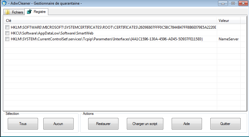 Quarantine - registry view